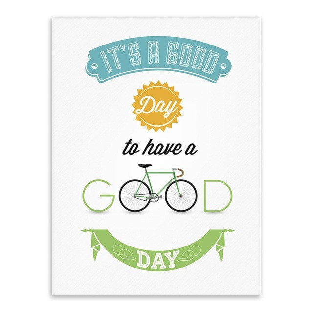 Vintage Bike Motivational Quote Poster Canvas Wall Art 9 Sizes 2 Designs