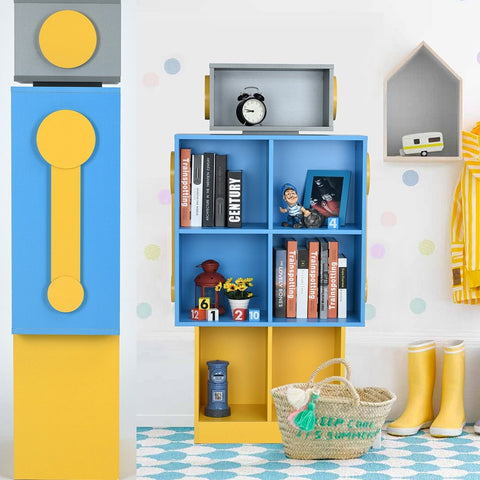 Cool Blue & Yellow Robot  Bookcase
