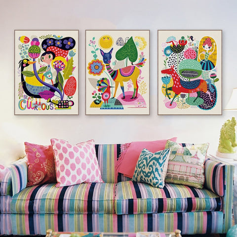 Colorful Fun Animal Abstract Poster Canvas Wall Art 9 Sizes 5 Designs