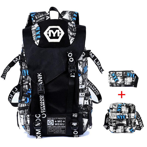 Large Fashion Multifunctional USB Charging Graffiti-Print 3-PC Backpack Set 3 Colors