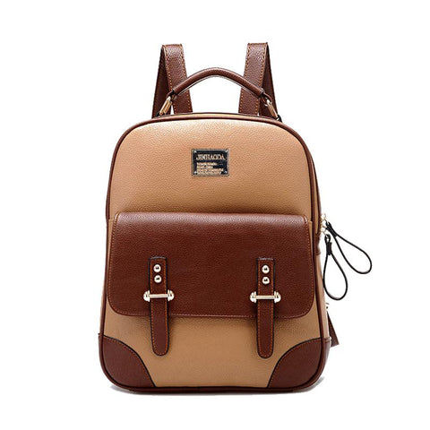 Classic Style Two-Tone Front Pocket PU Leather Backpack 3 Colors