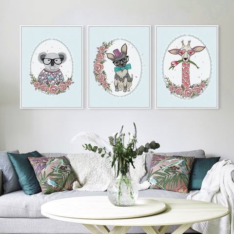 Cute Animal Floral Poster Canvas Wall Art 9 Sizes 4 Designs
