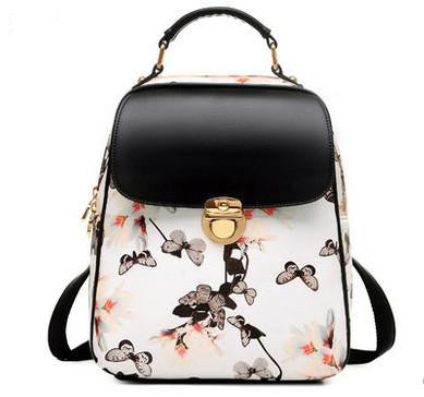 Women's Butterfly Fashion PU Leather Hasp Closure Backpack 2 Colors