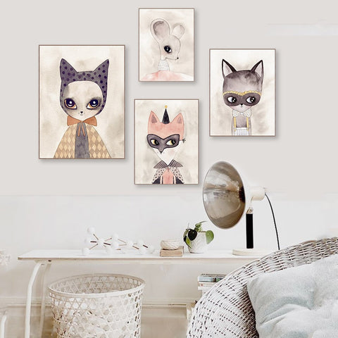 Cute Animal Painted-Canvas Wall Art 9 Sizes