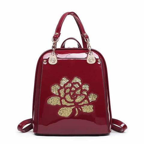 Quality Patent Leather Sparkly Ladies Spacious Backpack 3 Colors