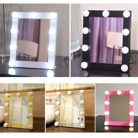 Medium Dimmable LED Lighted Mirrored Hollywood Makeup Mirror 5 Colors