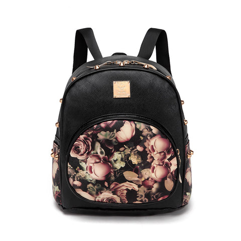 Floral PU Leather Rivet-Accent Ladies Backpack 3 Colors