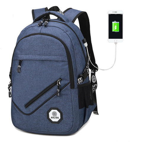 Casual Canvas Multifunctional External USB Backpack 3 Colors