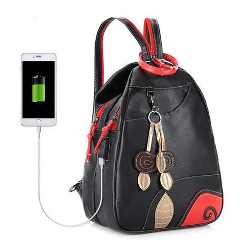 Women's PU Leather Fashion External USB Charger Backpack