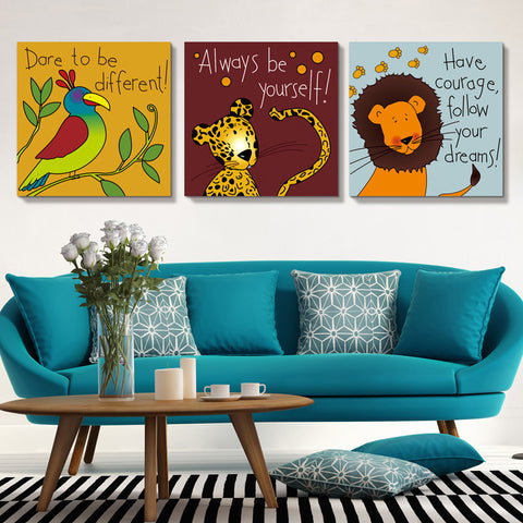 Children's Fun Colorful Cartoon Animal Picture Wall Art 6 Designs 3 Sizes