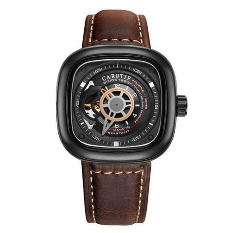 Stylish Auto Mechanical Leather Men's Wristwatch 6 Colors