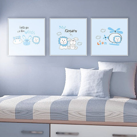 Cute Children's Animal Helicopter Wall Art 5 Sizes