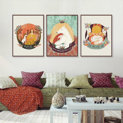 Fun Colorful Animal Oil-Painted Canvas Wall Art 9 Sizes