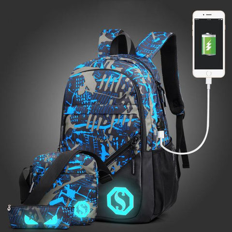 Cool USB Charge Fashion Geometric Luminous Backpack 7 Designs
