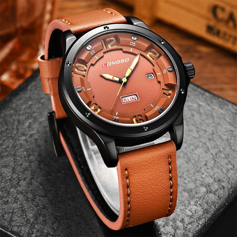 Men's Leather Casual Quartz Wristwatch 4 Colors