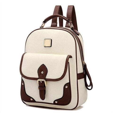 Two-Tone PU Leather Fashion Backpack 4 Colors