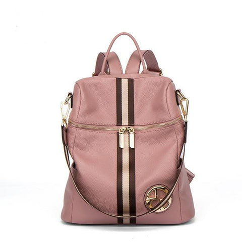 Ladies Genuine Leather Pink Stripe Zipper Fashion Backpack
