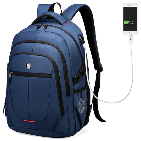 Casual Quality Canvas External USB Charging Waterproof Laptop Backpack 3 Colors