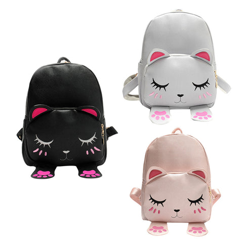 Student's Cute 3D Cat PU Leather Backpack 3 Colors