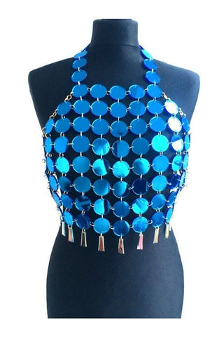 Ladies Party Bling Sequin Halter Beach Top One Size 4 Colors