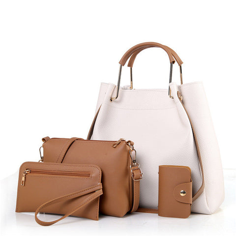 Women's PU Leather Fashion Quality 4-PC Casual Handbag Set 4 Colors