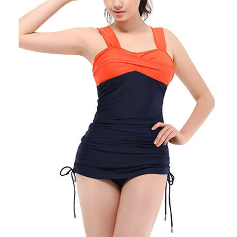 Vintage-Style Runched Side Tie Women's 2-PC Tankini Swimsuit M-2XL 2 Colors