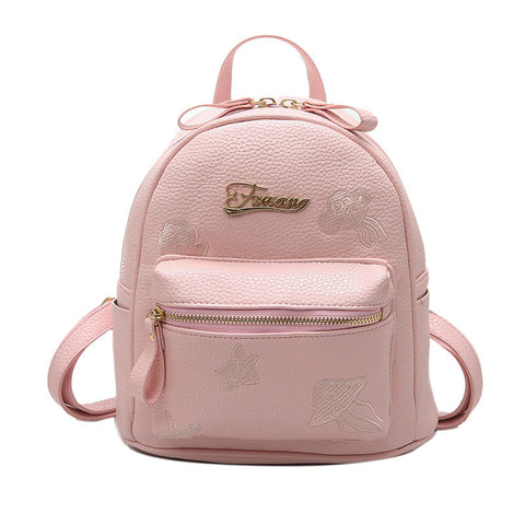 Preppy Fashion Girl's PU Leather Backpack 2 Colors