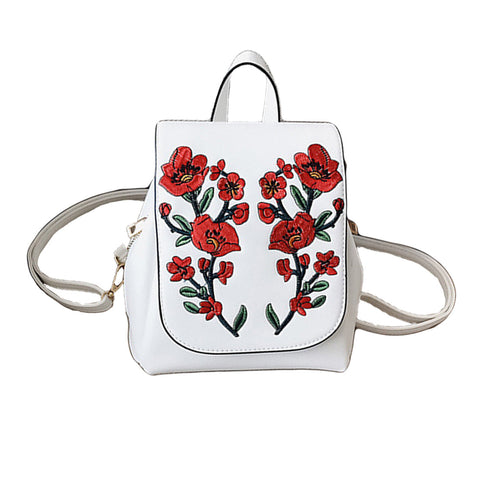 Pretty Elegant Floral Embroidered PU Leather Backpack 3 Colors