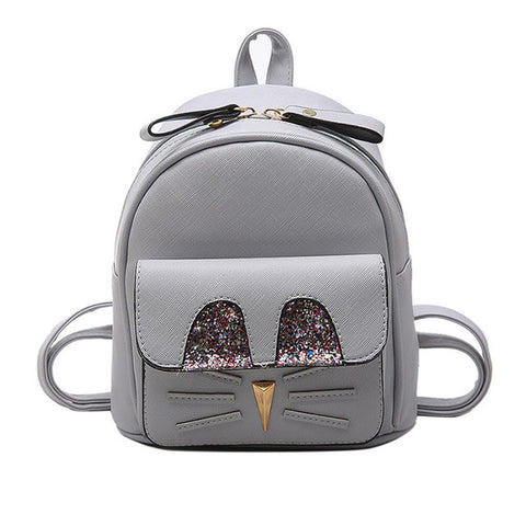 Girl's Cute Sparkly Mini PU Leather Mouse Backpack 3 Colors