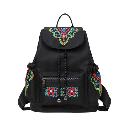 Black Nylon Embroidered Floral Spacious Vintage-Style Backpack