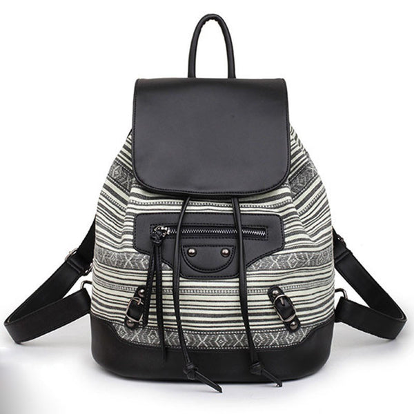 Casual Black Stripe PU Leather Fashion Backpack