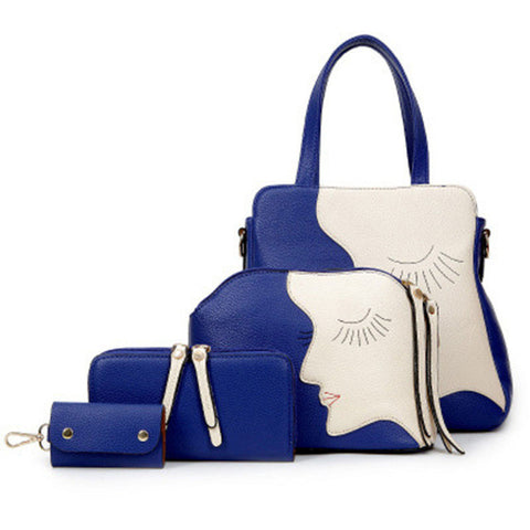 Modern Women's Fashion PU Leather 4-PC Handbag Set 2 Colors