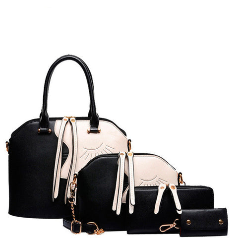 Ladies Fashion Designer PU Leather Vintage-Style 4-PC Handbag Set 8 Colors