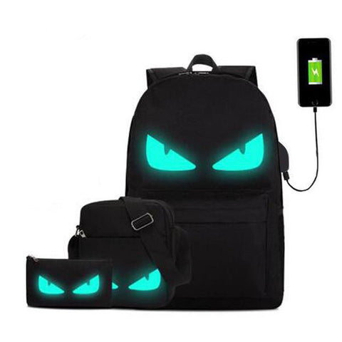 Cool Black Light-In-The-Dark Character Canvas Backpack 3 Designs