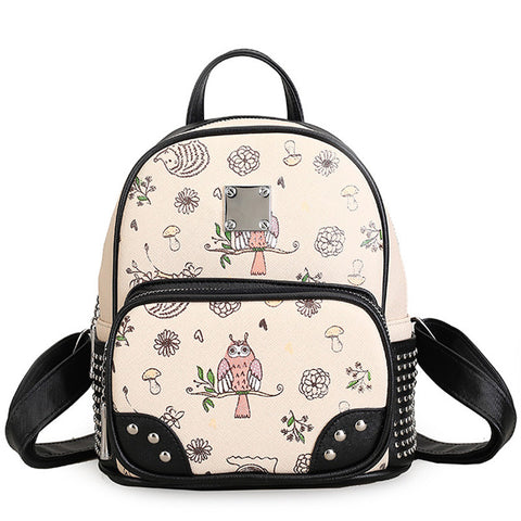 Ladies Fashion Owl-Print PU Leather Rivet-Accent Mini Backpack 4 Colors