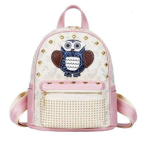Girl's Fashion Owl PU Leather Rivet-Accent Backpack 2 Colors