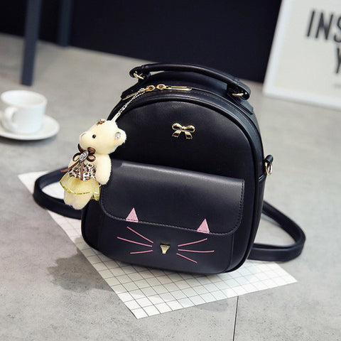 Girl's Cute Kitty Bear Jewel-Accent Backpack 3 Colors