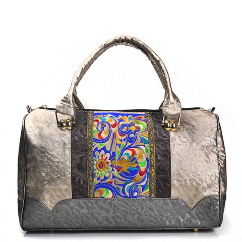 Pretty Embroidered Spacious Luxury PU Leather Women's Handbag
