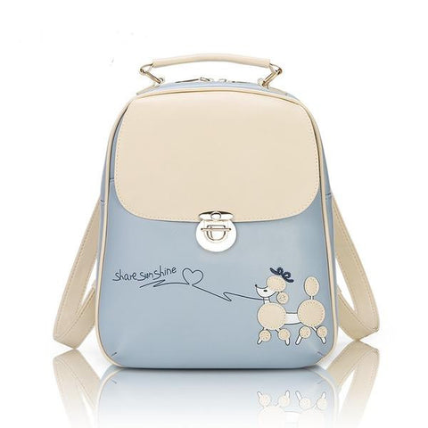 Cute Poodle Fashion PU Leather Ladies Backpack 6 Colors