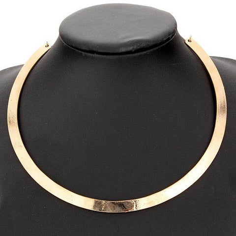 Punk Slim Curved Metal Bib Choker Collar Necklace Gold Silver Plated-Loluxe