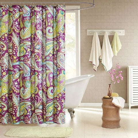 "Purple Yellow Teal Paisley Waterproof 72 x 72"" Fabric Shower Curtain-Bathroom > Shower Curtains-Loluxe"