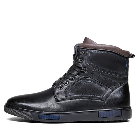 Quality Fashion Genuine Leather Casual Black Men's Ankle Boots-Loluxe