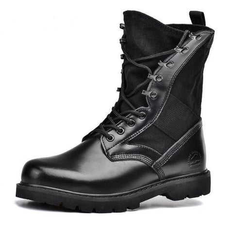 Quality Genuine Leather Men's Military-Style Tactical Black Boots-Loluxe