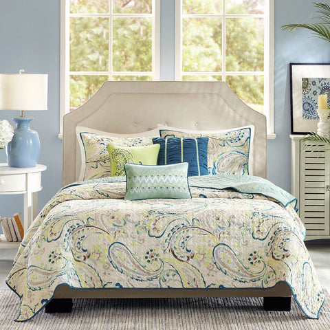 Queen Paisley 6 Piece Quilt Coverlet Set Navy Yellow White with Matching Pillows-Bedroom > Comforters and Sets-Loluxe