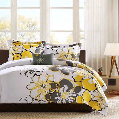 Queen size 4-Piece Comforter Set with Yellow Grey Floral Pattern-Bedroom > Comforters and Sets-Loluxe