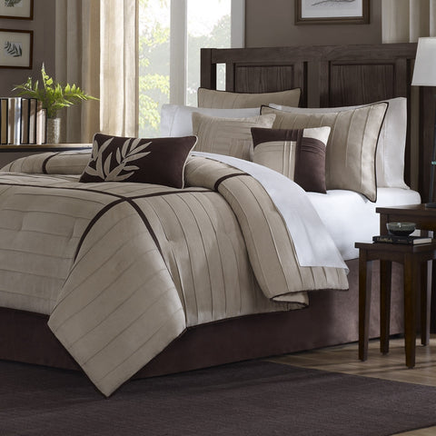 Queen size 7-Piece Bed in a Bag Beige Stripe Comforter Set-Bedroom > Comforters and Sets-Loluxe