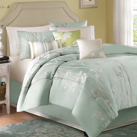 Queen size 7-Piece Bed in a Bag Floral Sea Mist Comforter Set-Bedroom > Comforters and Sets-Loluxe