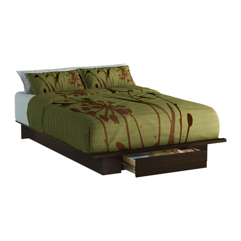 Queen size Modern Platform Bed Frame with Bottom Storage Drawer in Mocha-Bedroom > Bed Frames > Platform Beds-Loluxe