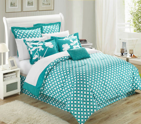 Queen size Turquoise 7-Piece Floral Bed in a Bag Comforter Set-Bedroom > Comforters and Sets-Loluxe