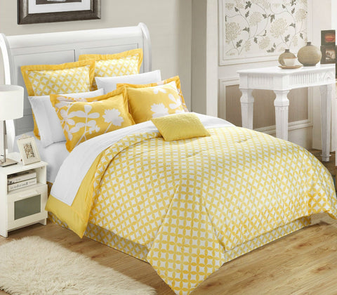 Queen size Yellow 7-Piece Floral Bed in a Bag Comforter Set-Bedroom > Comforters and Sets-Loluxe
